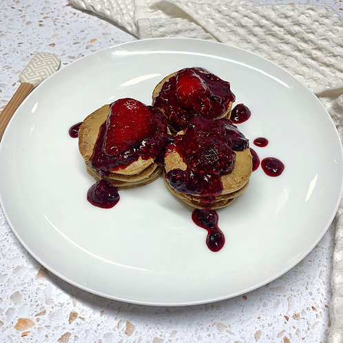 Organic Buckwheat Cacao Pancakes with Berry Compote and Peanut Butter