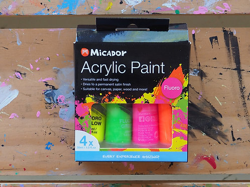 Micador Acrylic Fluoro Paint 4 pack