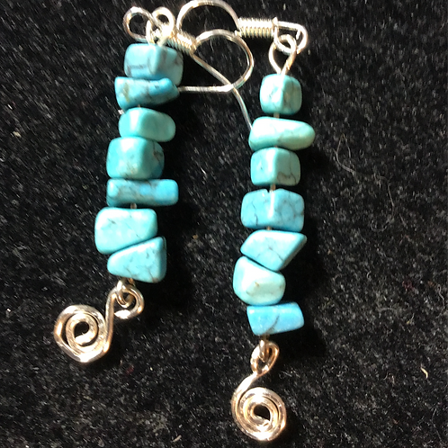 Jewelry-Hand Wire & Turquoise Nugget Earrings