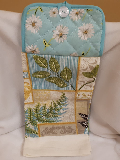 Kitchen Hand Towel-Blue-Green Leaves