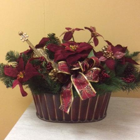 Christmas-Burgandy Poinsettia Basket Arrangement