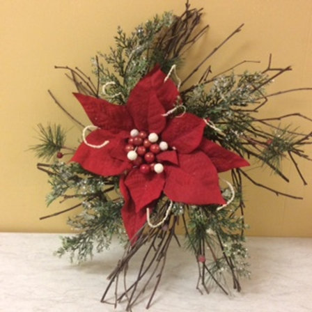 Christmas Decor-Red Poinsettia Door Deco