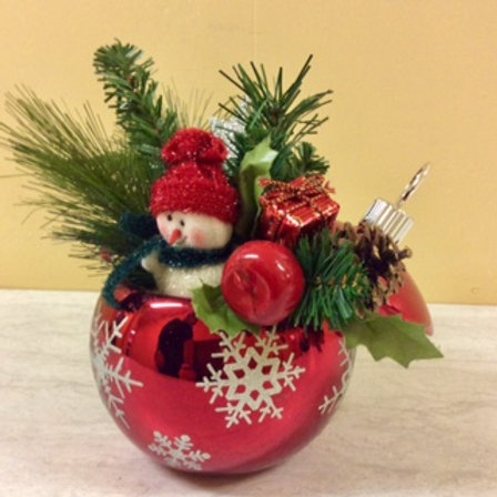 Christmas Decor-Cheery Glass Snowman