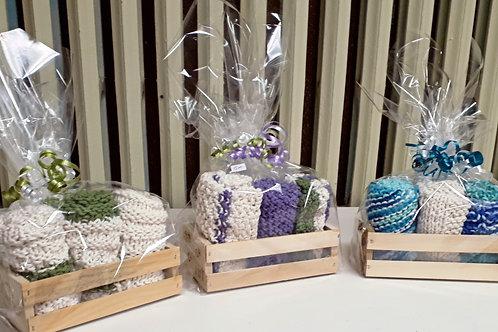 Crocheted Dishcloths-3 in a basket