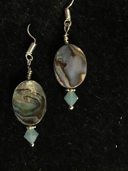 Jewelry-Abalone & Swarovski Crystal Earrings