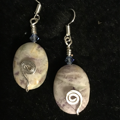 Jewelry-Wire Wrapped Jasper & Swarovski Crystal Earrings
