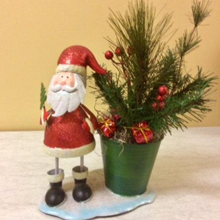 Christmas-Cheery Santa Bucket Arrangement