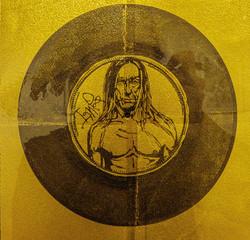 Disque d'or (portrait d'Iggy Pop) sur feuille d'or
