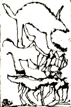 Les musiciens de Brême. 100x130 cm