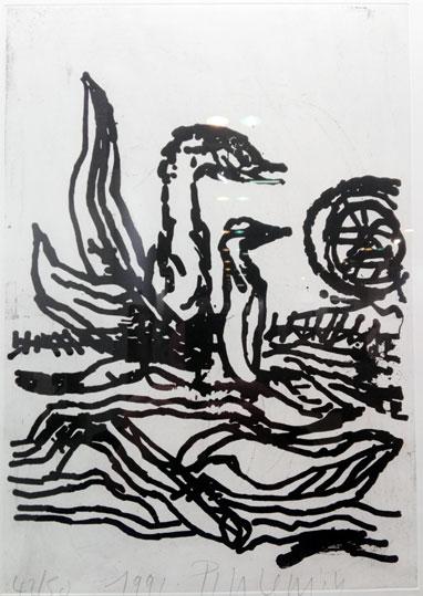 LES CYGNES 34 x 48 cm