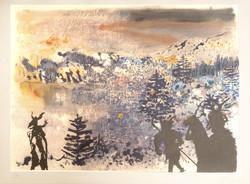 Paysage (phototypie mise en couleur au pochoir (Jacomet) rehaussée d'une xylographie)