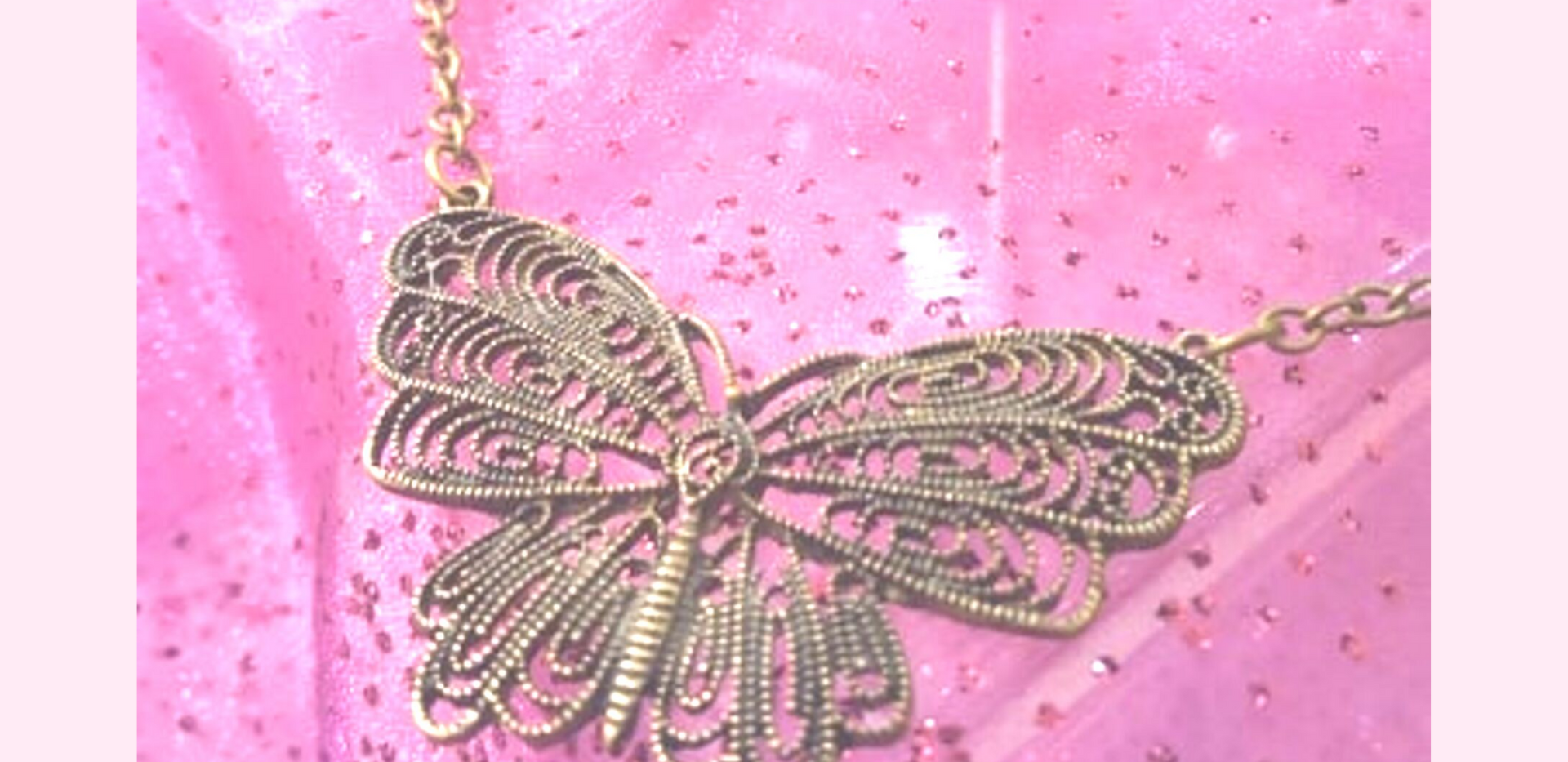 Brass Color Filagree Butterfly Necklace