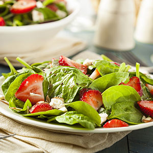 Refreshing summer spinach salad for two
