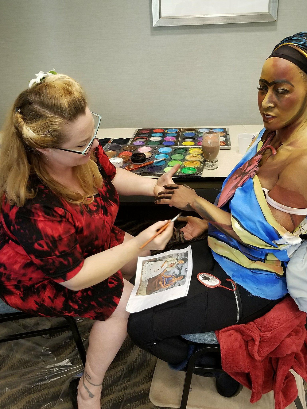 2D Body Paint Frida Khalo Corporate Event