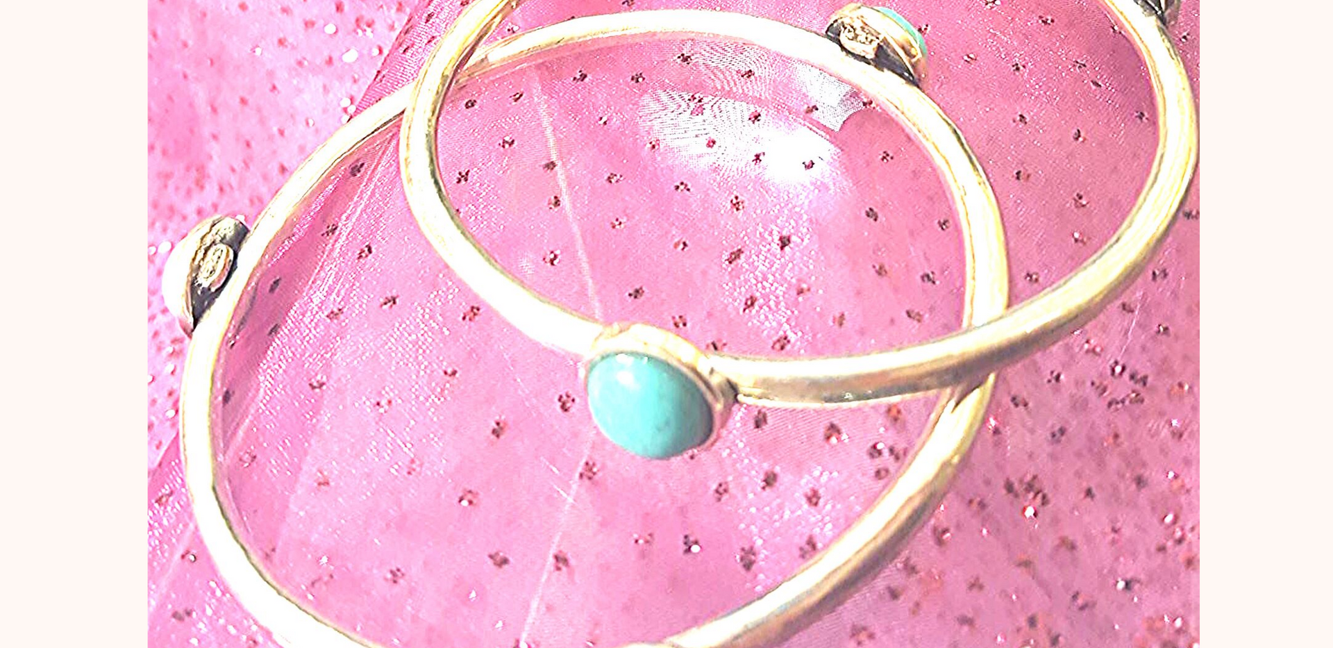 Silver / turquoise bangle set