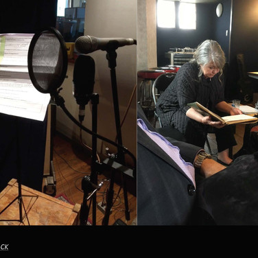Noni Hazlehurst reviewing her lines before recording the voice of May Gibbs