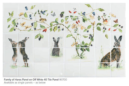 Family of Hares 40 Tile Panel