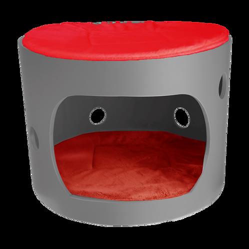 Cabane anthracite avec toit et deux coussin rouge, 40cm de diamètre