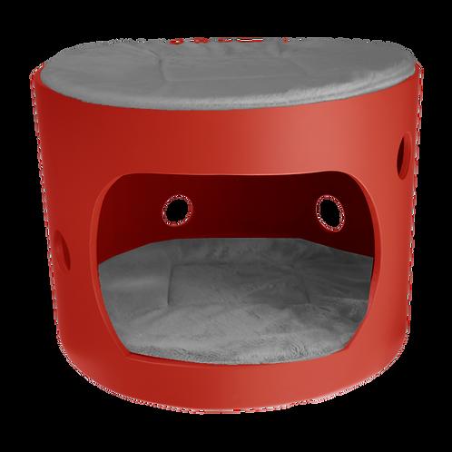 Cabane rouge avec toit et deux coussin gris, 40cm de diamètre