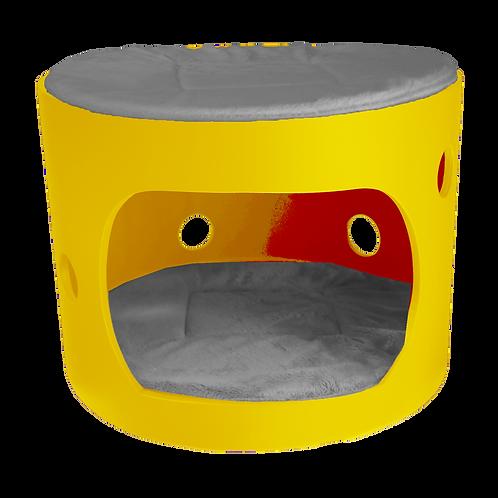 Cabane jaune avec toit et deux coussin gris, 40cm de diamètre