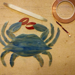 Glass all cut and ground for the blue crab piece! 🦀 It's fun to see it take shape. Next step_ foili