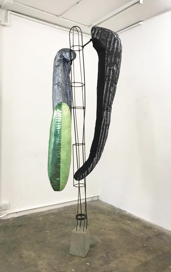 I, Cactus 2020, metal, cement, fabric and plactic, 240 x 25 x 27cm