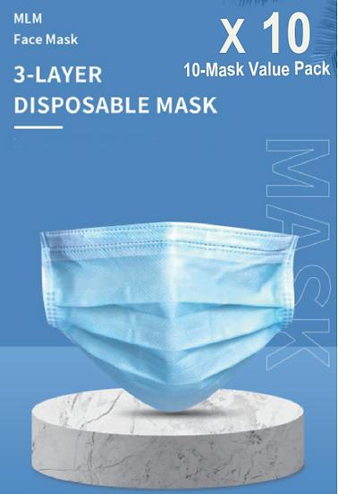 3 Layer Disposable Face Mask - 10PCS