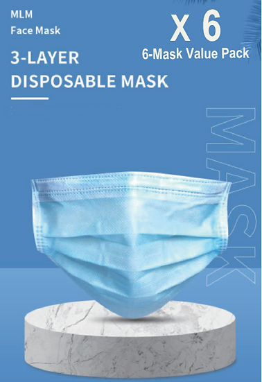 3 Layer Disposable Face Mask - 6PCS
