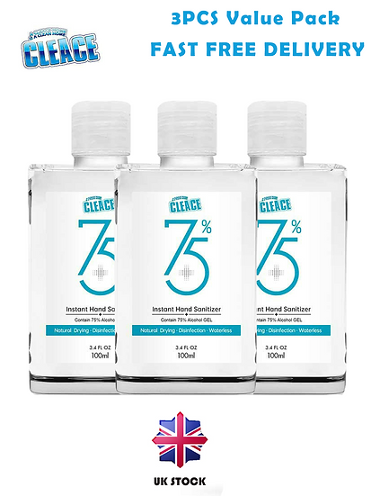 Cleace Antibacterial 75% Alcohol Hand Sanitiser Gel 100ml - 3PCS