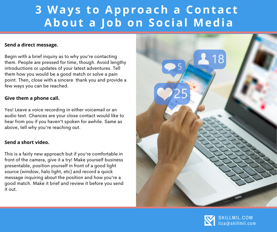 An Infographic on How to Approach a Contact About a Job on Social Media