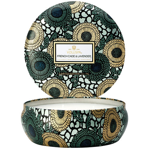 French Cade & Lavender 3 Wick Decorative Tin Candle