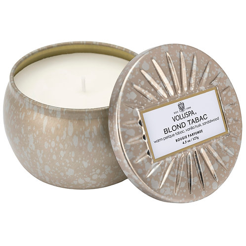 BLOND TABAC PETITE DECORATIVE TIN CANDLE
