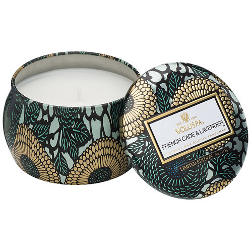 FRENCH CADE & LAVENDER PETITE DECORATIVE TIN CANDLE