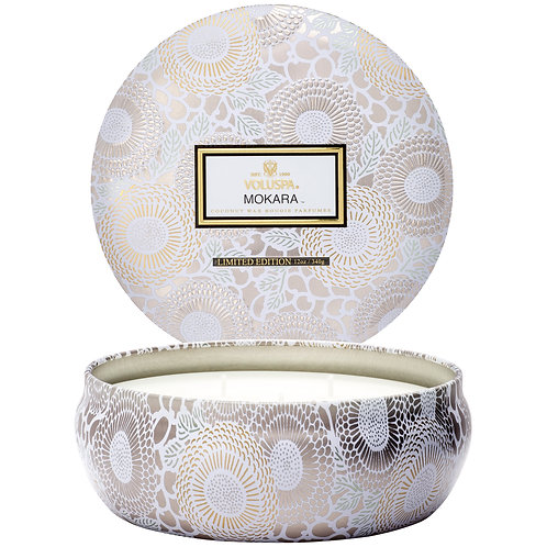 Mokara 3 Wick DecorativeTin Candle