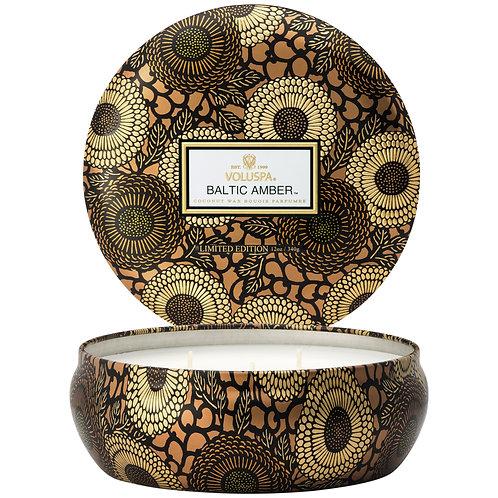 Baltic Amber 3 Wick Decorative Tin Candle