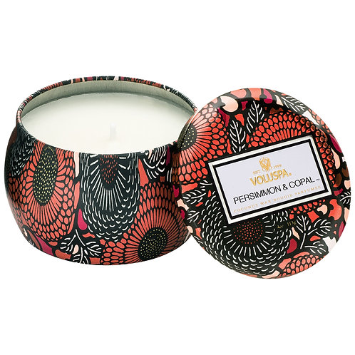 PERSIMMON & COPAL PETITE DECORATIVE TIN CANDLE