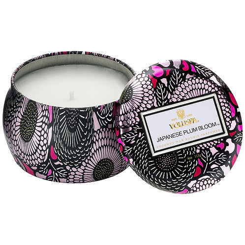 JAPANESE PLUM BLOOM PETITE DECORATIVE TIN CANDLE