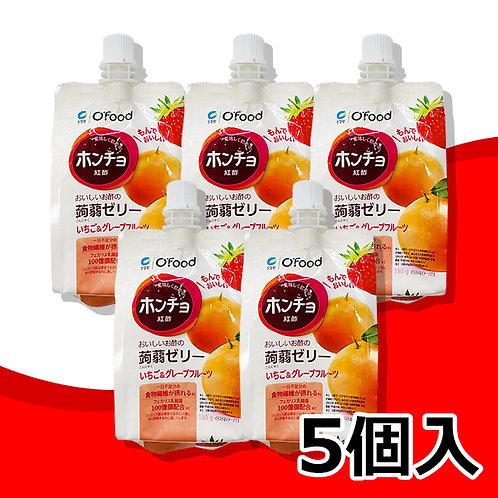 紅酢(ホンチョ)蒟蒻ゼリー【いちご&グレープフルーツ】5個セット