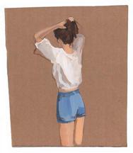 white ground - GR - 2778 - Blue Shorts_1