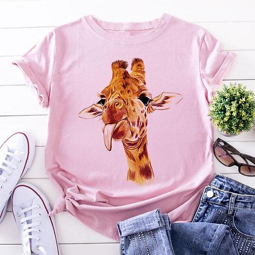 Camiseta Feminina Rosa com Girafa
