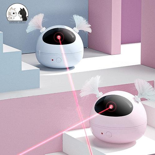 Brinquedo interativo para gatos com laser e controle remoto.