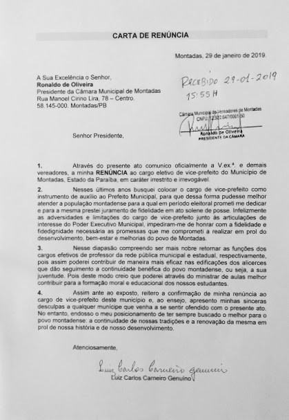 Vice-prefeito de Montadas/PB renuncia ao cargo!