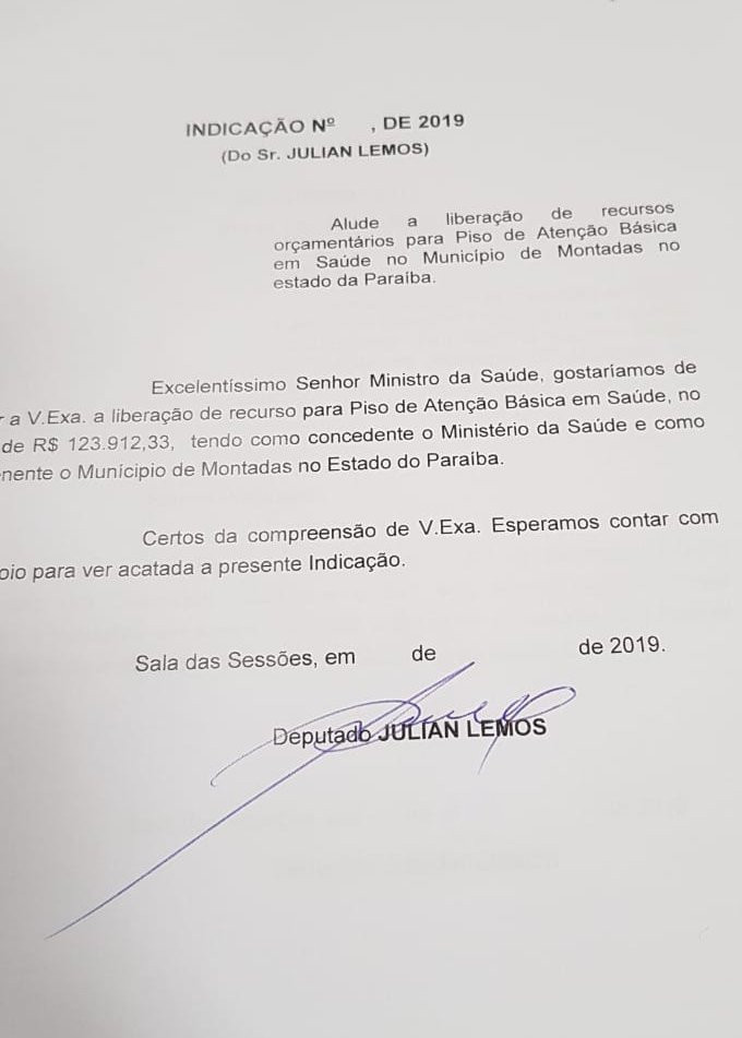 Deputado Federal Julian Lemos (PSL) requer ao Ministério da Saúde a liberação de R$ 123,9 mil para o município de Montadas