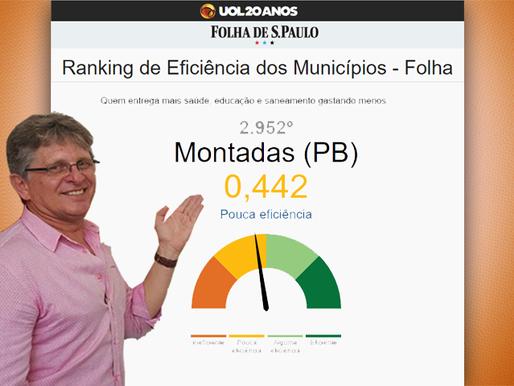Segundo a Folha de São Paulo, Montadas/PB ocupa o pior índice de eficiência de sua região