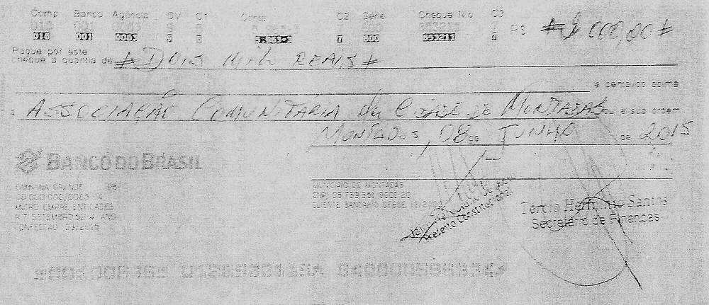 Cheque de R$ 2 mil pagos a Associação Comunitária de Montadas/PB