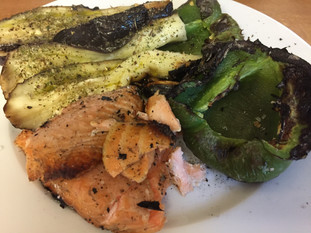 Planked Salmon With Dirty Vegetables.