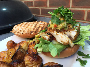 Cod Loin and Salmon Burgers with Mango Relish