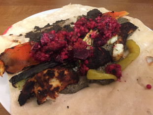 Grilled Halloumi with Giant Cous Cous and Dirty Vegetable Salad in Yoghurt Wraps
