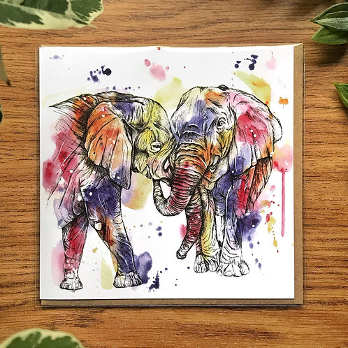 Elephants - Greetings Card