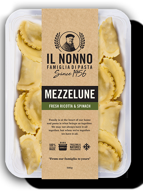 Mezzelune (Half Moon Ravioli) Ricotta and Spinach (frozen)